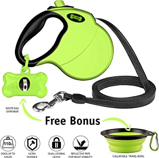Ruff 'n Ruffus Retractable Dog Leash with Free Waste Bag Dispenser and Bags + Bonus Bowl | Heavy-Duty 16ft Retracting Pet Leash | 1-Button Control |
