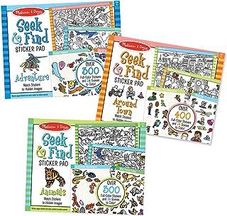 Melissa & Doug Seek & Find Sticker Pad 3-Pack, Around Town, Adventure, Animals, Each Includes 400+ Stickers, 14 Scenes to ...