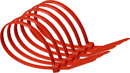 140mm x 3.6mm Red Heavy Duty Nylon Cable Ties : Supplied in sealed poly bag of 100