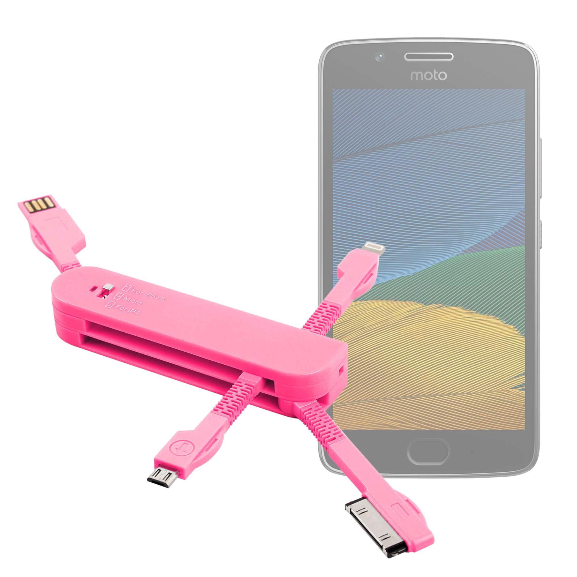 DURAGADGET Multi-Cargador Rosa para Smartphone Lenovo/Motorola Moto E3 (3rd gen/2016), Lenovo/Motorola Moto G5 Plus   Vernee Thor 4G: Amazon.es: Electrónica