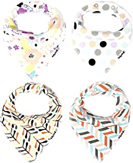 BabyWolf Bibs 4 Pack Super Soft & Absorbent for Girls Baby Bandana Drool Bibs (Multi)