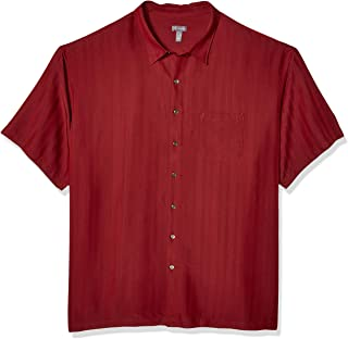 Men's Big and Tall Air Short Sleeve Button Down Poly Rayon Stripe Shirt