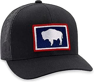 Wyoming Hat – Wyoming Flag Trucker Hat Baseball Cap Snapback Golf Hat (Black)