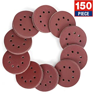 WORKPRO 150-piece Sandpaper Set – 5-Inch 8-Hole Sanding Discs 10 Grades Include 60,..