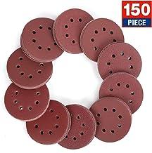 WORKPRO 150-piece Sandpaper Set – 5-Inch 8-Hole Sanding Discs 10 Grades Include 60,..
