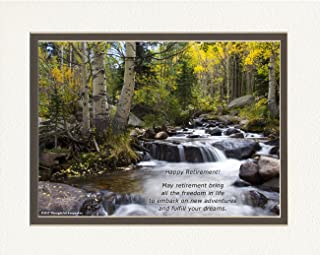 Retirement Gifts. River Photo with May retirement bring all the freedom in life to embark on new adventures and fulfill your dreams. 8x10 Double Matted. Special Unique Gift for Retiree