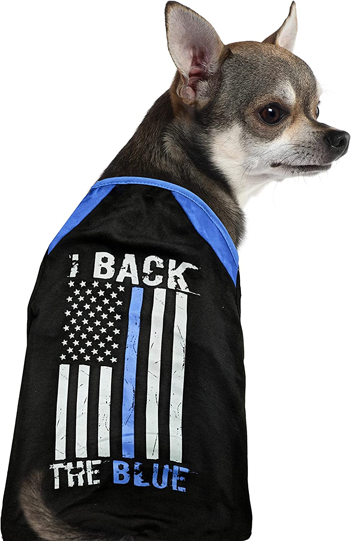 Dog Shirt · Back The bluee Thin bluee Line American Flag (Large)