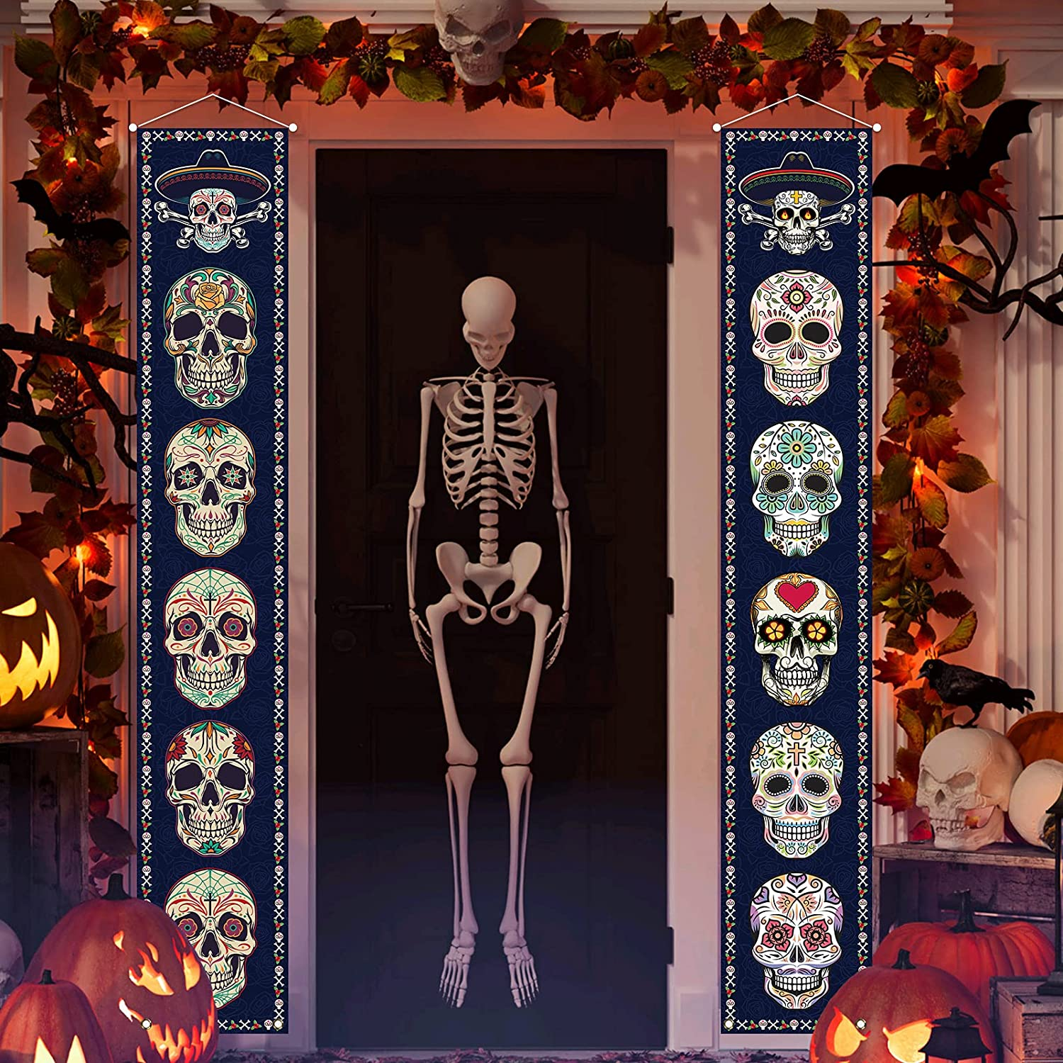 Jiudungs Day of The Dead Decoration Outdoor Dia De Los Muertos Sugar Skull Porch Sign Banner Halloween Mexican Theme Party Decor and Supplies for Home
