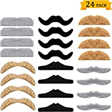 Whaline 24 Pack Novelty Fake Moustache Halloween Self Adhesive Moustaches Set for Masquerade Party Favor, Costume and Performance