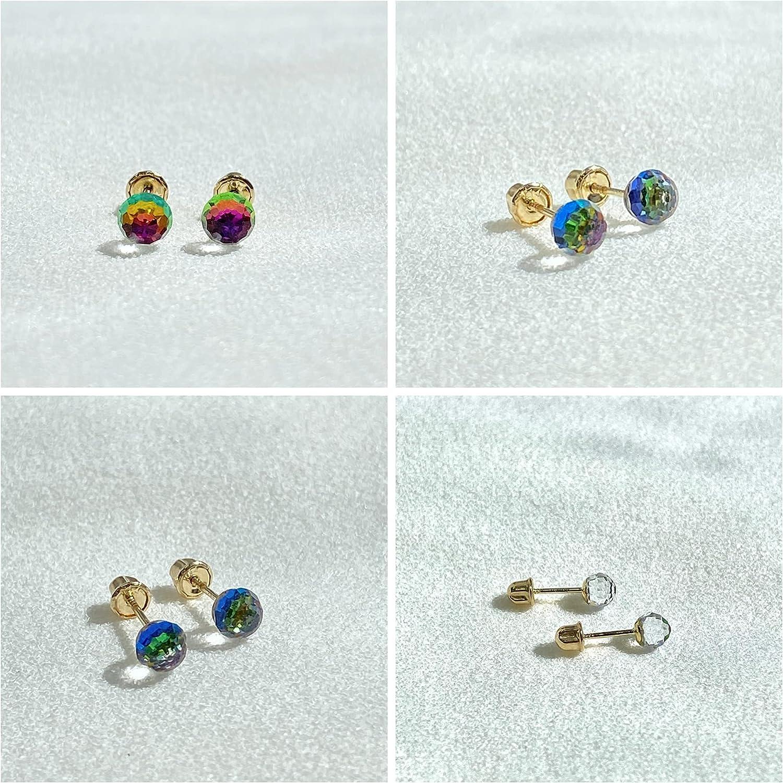 Ioka - 14K Yellow Gold CZ Rainbow Round Disco Ball Stud Earrings with Screw Back