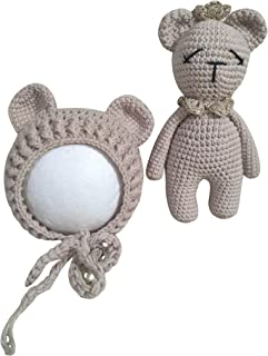 Jastore Infant Newborn Photography Prop Photo Crochet Boys Girls Knit Toy Bear Hats