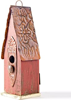 Glitzhome Tall Red Hand Painted Wood Birdhouse, 13.23