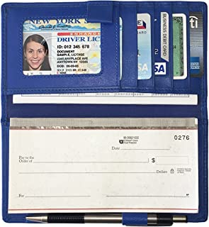 RFID Leather Checkbook Cover with Credit Card Slots and Pen Holder
