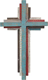 """Stonebriar Accents of Faith 14"""" 3D Multicolor Wooden Wall Cross"""