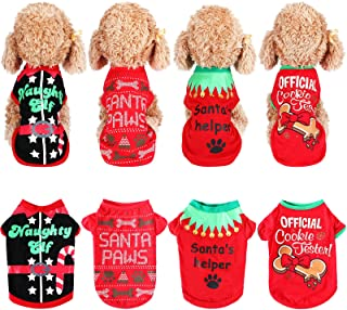 4 Pieces Christmas Dog Shirts Pet Clothes Soft Breathable Puppy Shirts Christmas Printed Pet T-Shirt Cute Dog Clothes for ...