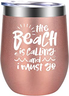 The Beach is Calling and I Must Go - Beach Summer Gifts for Women - Funny Cool Vacation Birthday, Lake, Sea Themed Wine Gift for Girls, Best Friend, BFF, Grandma, Mom, Wife, Sister - GSPY Wine Tumbler