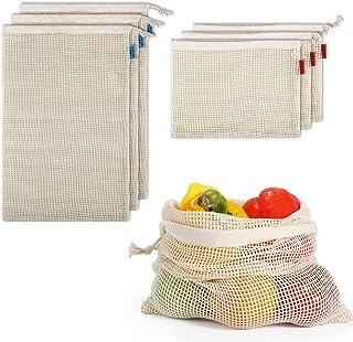 icyant Bolsas reutilizables para productos agrícolas, 100% bolsas de algodón orgánico con cordón, lavables, ecológicas, de...