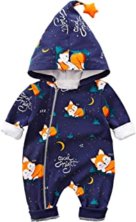 Baby Zipper Clothes Stylish Fox Design Long-Sleeve Hooded Jumpsuit for Baby