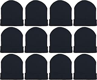 12 Pack Winter Beanie Hats for Men Women, Warm Cozy Knitted Cuffed Skull Cap, Wholesale