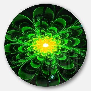 Designart Glowing Green Fractal Flower on Black Floral Large Metal Wall Art-Disc of 23, 23'' H x 23'' W x 1'' D 1P