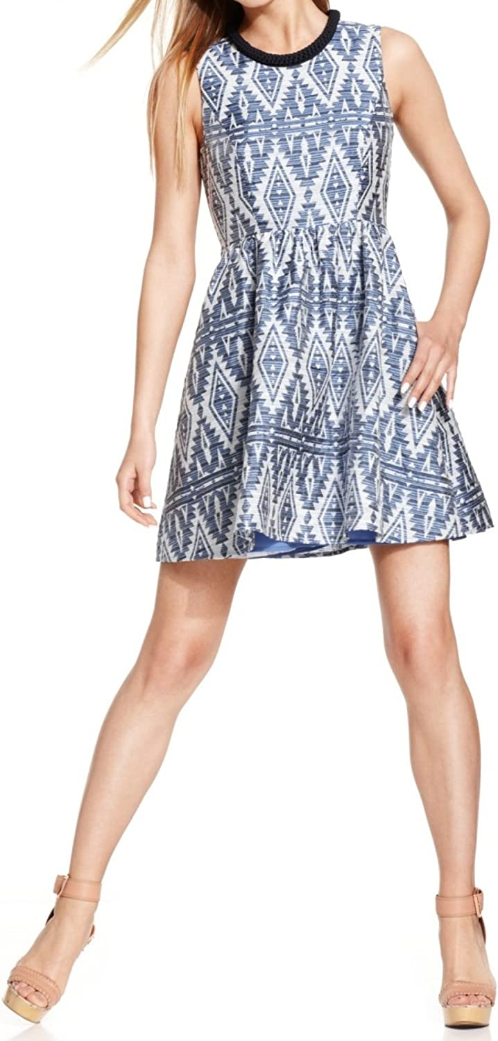Jessica Simpson Women's Sleeveless Fit-and-Flare Dress with Neck Detail