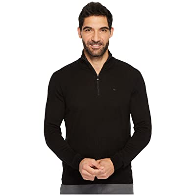 Calvin Klein Merino End on End 1/4 Zip Sweater (Black) Men