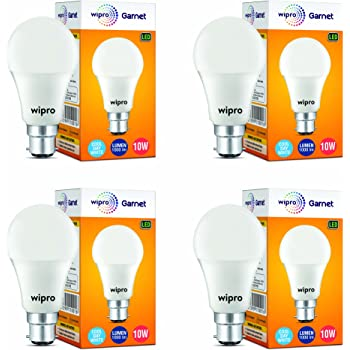 Wipro Garnet Base B22 10-Watt LED Bulb (Pack of 4, Cool Day White)
