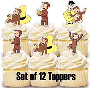 12 Cupcake Toppers Curious George