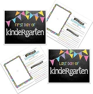 Kindergarten First & Last Day of School Photo Prop Sign - Pastel Pennant Flags Chalkboard Design