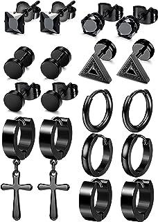 Besteel 9 Pairs Black Stainless Steel Stud Earrings for Women Men Hoop Barbell Triangle Cross Huggie Earrings Piercing Jewelry Set