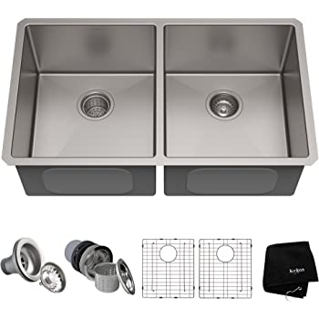 Kraus Standard Pro 33 Inch 16 Gauge Undermount 50 50 Double Bowl Stainless Steel Kitchen Sink Khu102 33 Amazon Com
