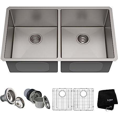 Kraus Standard PRO 33-inch 16 Gauge Undermount 50/50 Double Bowl Stainless Steel Kitchen Sink, KHU102-33
