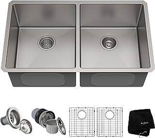 "Kraus KHU102-33 Standart Pro Undermount Stainless Steel Kitchen Sink, 50/50 Double Bowl, 32.75"""