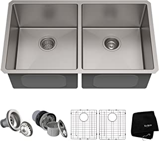 Kraus Standart PRO 33-inch 16 Gauge Undermount 50/50 Double Bowl Stainless Steel Kitchen..