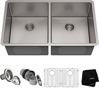 Kraus Standard PRO 33-inch 16 Gauge Undermount 50/50 Double Bowl Stainless Steel Kitchen Sink, KHU102-33
