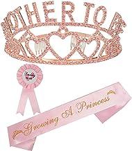 تاج و تخت قلب تاج طلائی Tiara | مامان باشم | بابا به پین | پارتی دوش کودک از هدیه های مخصوص دکوراسیون دخترانه استقبال می کند | جنسیت نشان می دهد هدیه های مهمانی | عالی برای مادر جدید (صورتی)