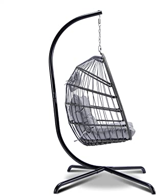 Egg Chair with Stand indoor Outdoor hanging chair with stand Patio Wicker Hanging Egg Chair with Grey Cushion hanging basket