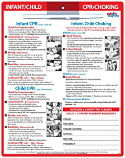 Infant and Child CPR and Choking First Aid Card - Emergency Numbers Refrigerator Magnet - Laminated Card with Magnets - 8....