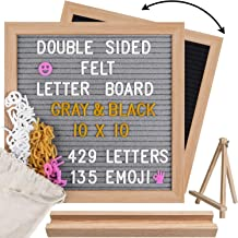 Double Sided Felt Letter Board 10x10, Gray/Black Changeable Sign Message Board, 564 Precut Letters(3 Colors), Wood Frame Word Board with 2 Stands