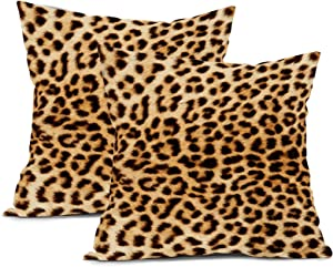 Leopard Pillow Covers 18x18 inch Square Cotton Animal Print Cheetah Throw Pillows Indoor and Outdoor Throw Pillow Covers Decorative for Couch / Bed / Living Room / Patio Furniture (Pack of 2)