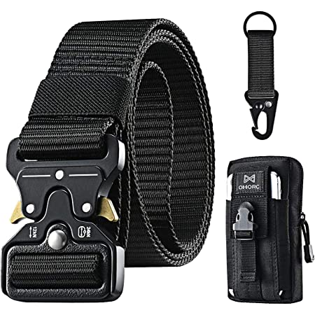 OMORC Tactical Belt, Military Belt, Men Heavy Duty Nylon Belt 125cm, with Quick Release Metal Buckle, Gift with Tactical Molle Pouch and Hook, for Hunting Training Army Running
