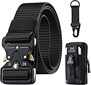 OMORC Tactical Belt, Military Belt, Men Heavy Duty Nylon Belt 125cm, with Quick Release Metal Buckle, Gift with Tactical M...
