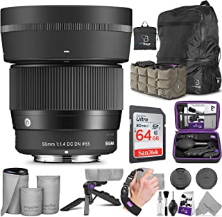 Sigma 56mm f/1.4 DC DN Contemporary Lens for Sony E Mount with Altura Photo Advanced Accessory and Travel Bundle