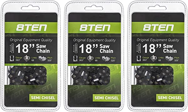 8TEN Chainsaw Chain For Stihl MS210 MS230 MS250 Replaces 26RS 68 Husqvarna 18 Inch 063 325 68DL 3 Pack