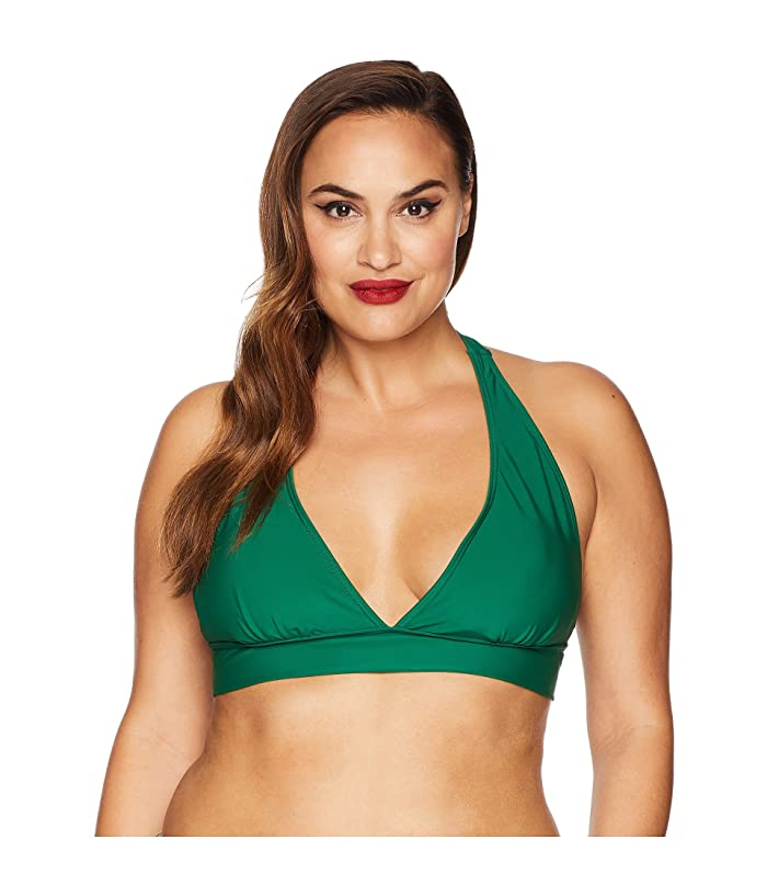 Unique Vintage Plus Size Lulu Halter Swim Top (Emerald Green) Women