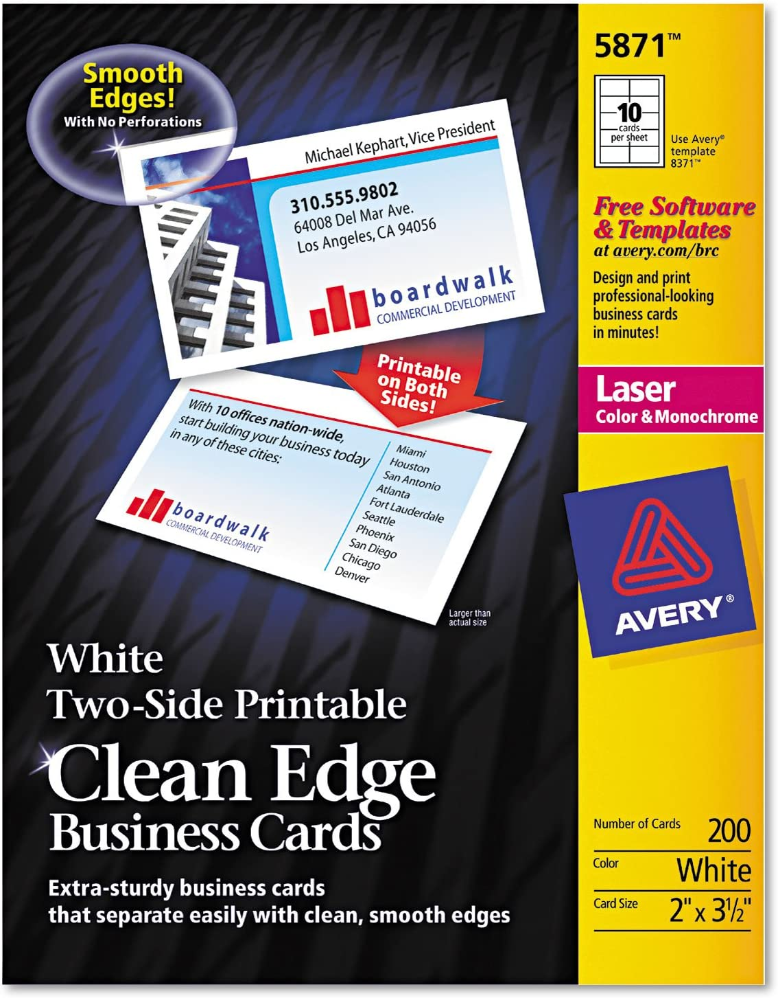 Avery 5874 Printable Business Cards cheap 3-1 2-Inch 1000 Ranking TOP7 2-Sides BX