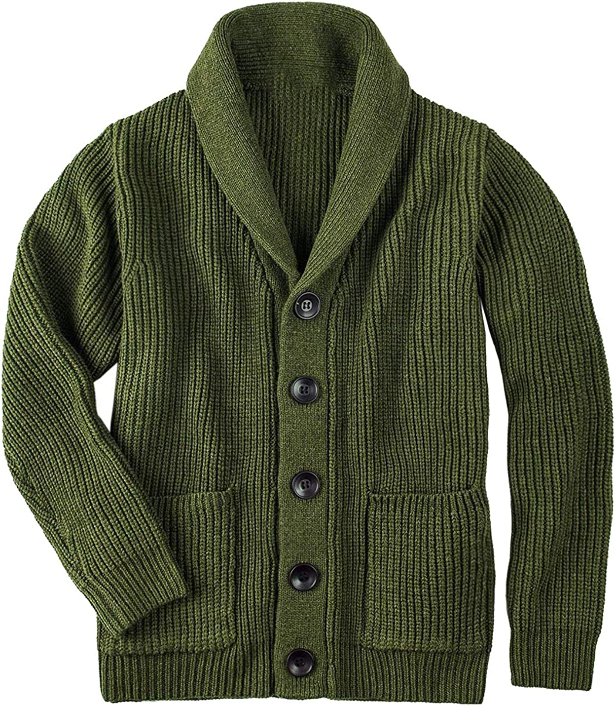 HaoMay Men's Casual Shawl Collar Button Down Knitted Cardigans Sweaters