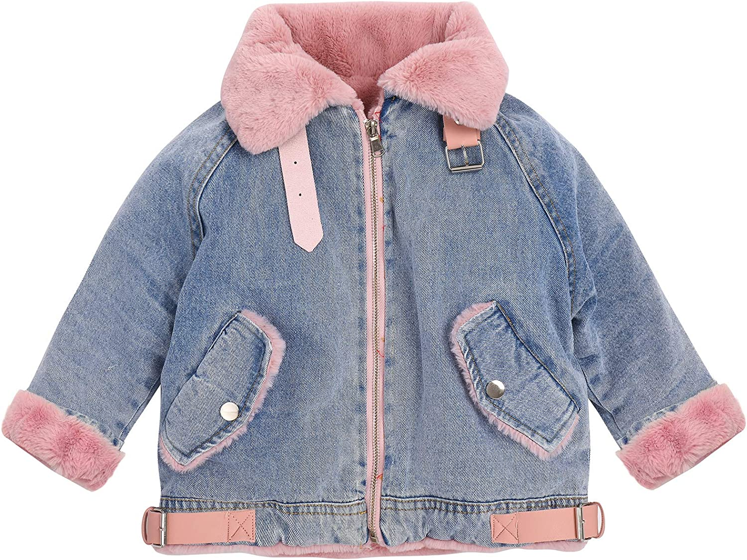 Manufacturer direct delivery Toddler Girls Faux Fur Collar Fleece Denim At the price of surprise Thicken Hooded Jacket