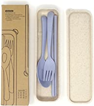 Honbay 3PCS Portable Cutlery Boreal Europe Style Healthy Eco-Friendly Wheat Straw Spoon Chopstick Fork Tableware set for Travel, Picnic, Camping or Just for Daily Use (Blue)