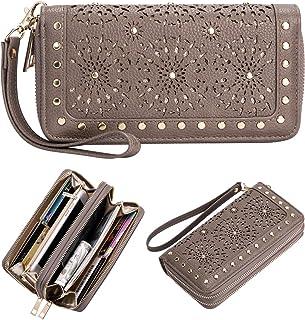AMNF RFID Blocking Laser Cut Studded Double Zip-Around Wristlet Wallet for Women